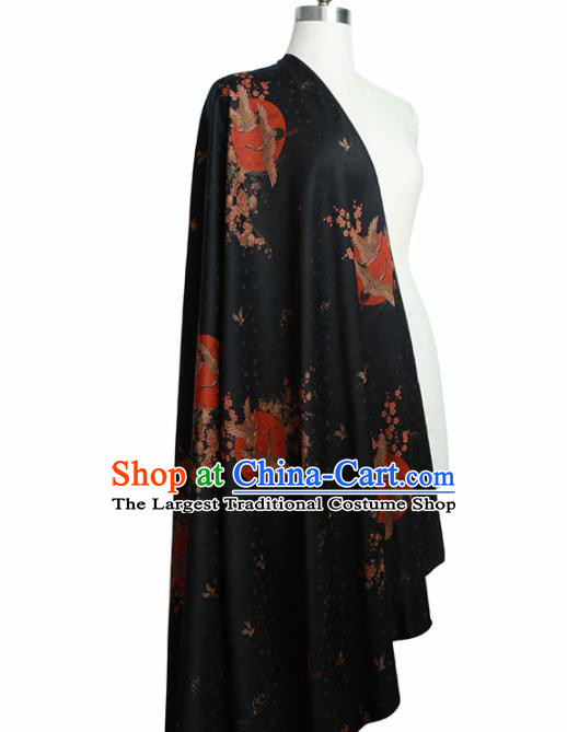 Chinese Classical Crane Plum Pattern Design Black Gambiered Guangdong Gauze Fabric Asian Traditional Cheongsam Silk Material