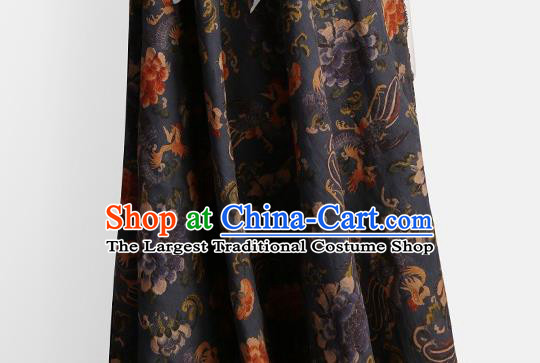 Chinese Classical Phoenix Peony Pattern Design Navy Gambiered Guangdong Gauze Fabric Asian Traditional Cheongsam Silk Material