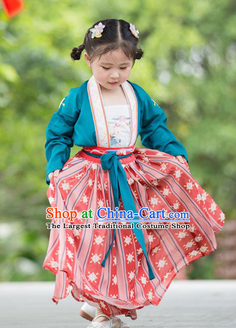 Chinese Traditional Girls Embroidered Blue Blouse and Red Skirt Ancient Song Dynasty Princess Costume for Kids