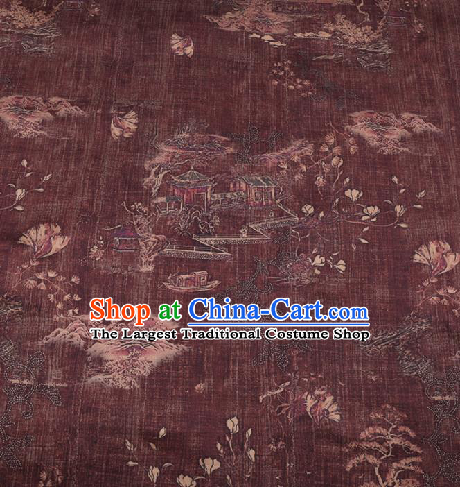 Chinese Classical Pavilions Pattern Design Purplish Red Gambiered Guangdong Gauze Fabric Asian Traditional Cheongsam Silk Material
