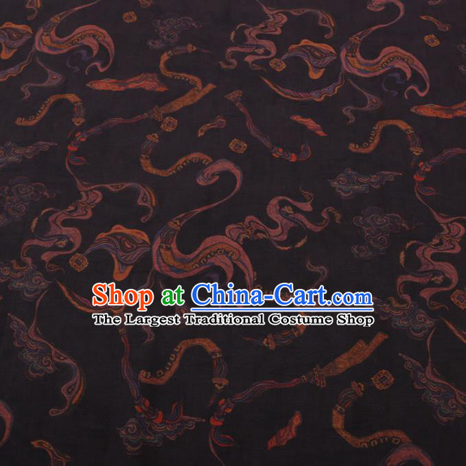 Chinese Classical Ribbon Pattern Design Black Gambiered Guangdong Gauze Fabric Asian Traditional Cheongsam Silk Material