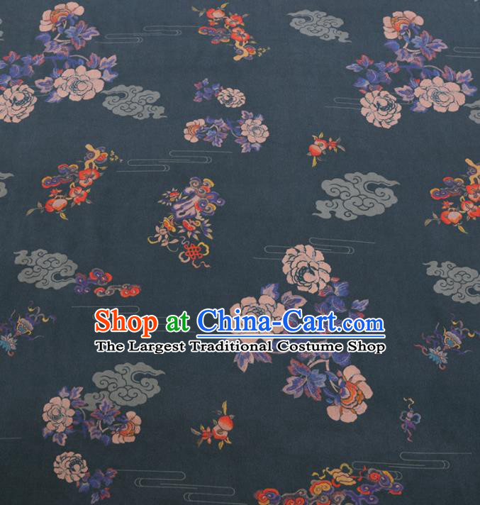 Chinese Classical Peony Peach Pattern Design Atrovirens Gambiered Guangdong Gauze Fabric Asian Traditional Cheongsam Silk Material