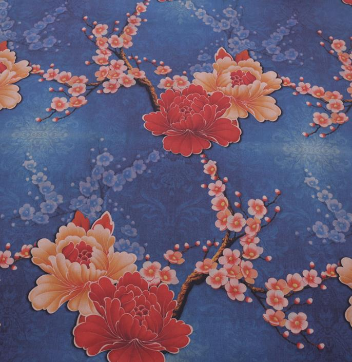 Chinese Classical Plum Peony Pattern Design Blue Gambiered Guangdong Gauze Fabric Asian Traditional Cheongsam Silk Material