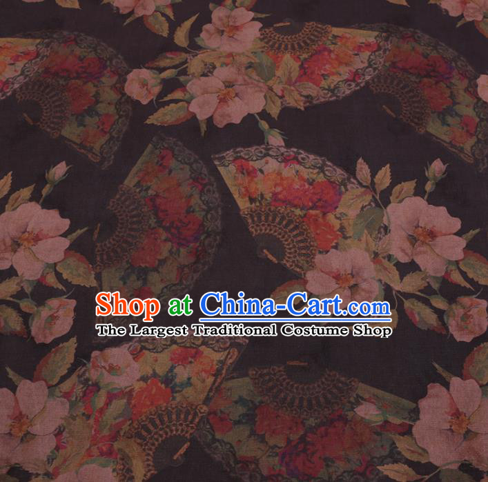 Chinese Classical Begonia Fan Pattern Design Black Gambiered Guangdong Gauze Fabric Asian Traditional Cheongsam Silk Material
