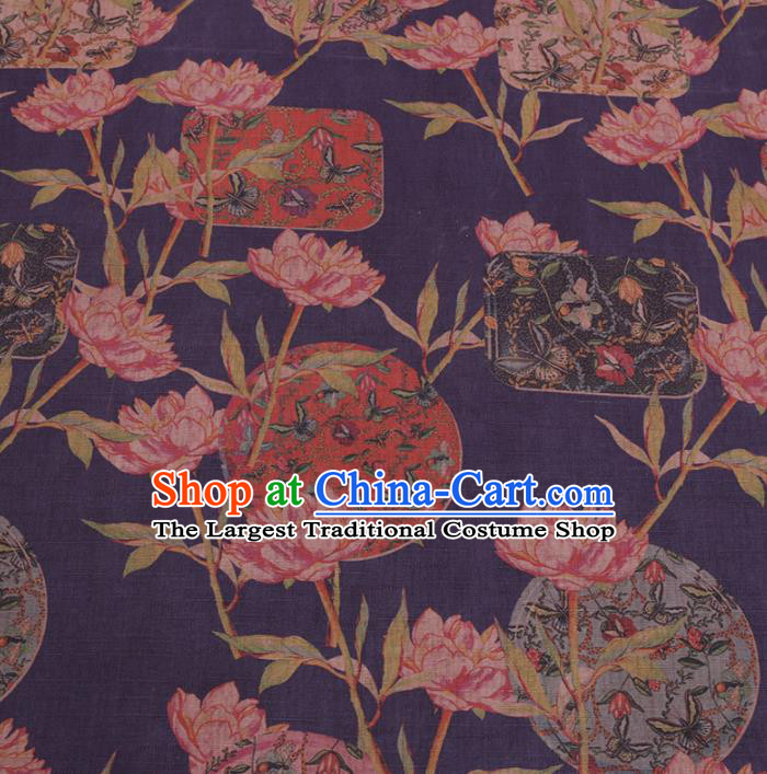 Chinese Classical Flowers Pattern Design Blue Gambiered Guangdong Gauze Fabric Asian Traditional Cheongsam Silk Material