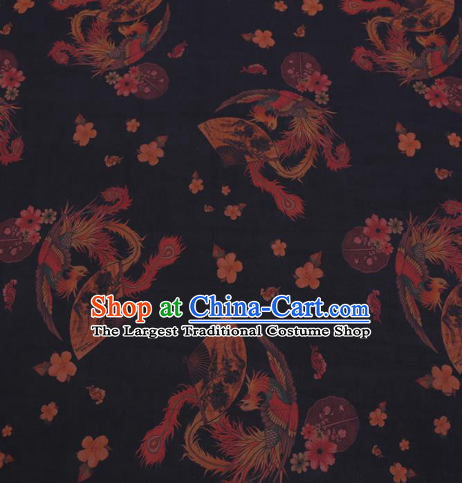 Chinese Classical Printing Phoenix Pattern Design Black Gambiered Guangdong Gauze Fabric Asian Traditional Cheongsam Silk Material