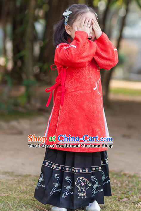 Chinese Traditional Girls Embroidered Red Blouse and Black Skirt Ancient Ming Dynasty Princess Costume for Kids