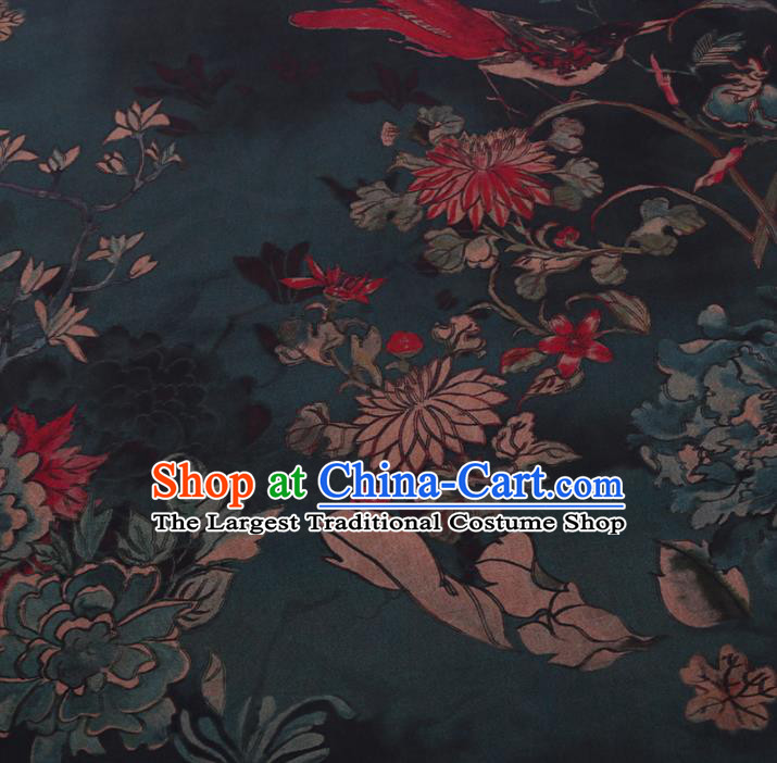 Chinese Classical Printing Chrysanthemum Peony Pattern Design Atrovirens Gambiered Guangdong Gauze Fabric Asian Traditional Cheongsam Silk Material
