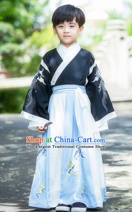 Chinese Traditional Ming Dynasty Swordsman Costume Ancient Scholar Hanfu Clothing for Kids