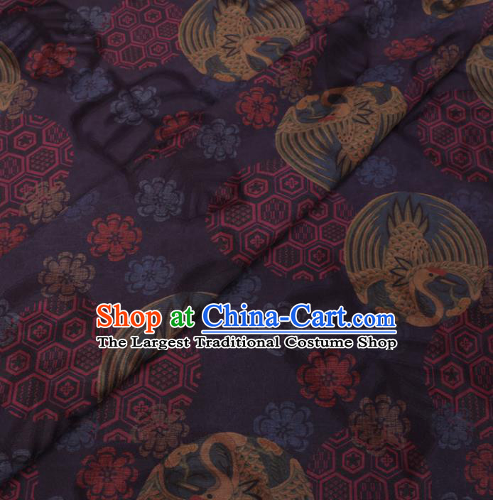 Chinese Classical Printing Round Crane Pattern Design Navy Gambiered Guangdong Gauze Fabric Asian Traditional Cheongsam Silk Material