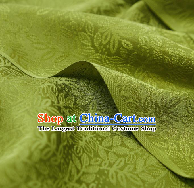 Chinese Classical Grass Pattern Design Olive Green Silk Fabric Asian Traditional Cheongsam Brocade Material