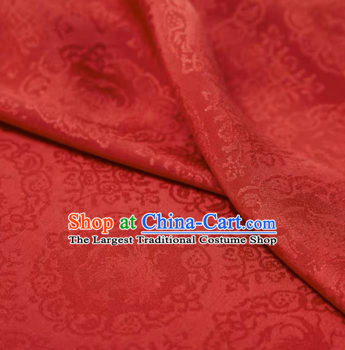 Chinese Classical Rosefinch Pattern Design Red Silk Fabric Asian Traditional Cheongsam Brocade Material