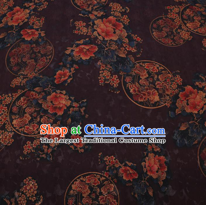 Chinese Classical Printing Peony Plum Pattern Design Deep Purple Gambiered Guangdong Gauze Fabric Asian Traditional Cheongsam Silk Material