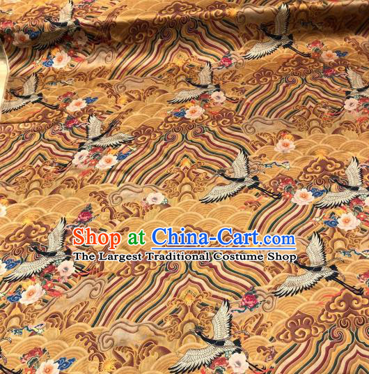 Asian Chinese Traditional Crane Pattern Design Yellow Gambiered Guangdong Gauze Fabric Silk Material