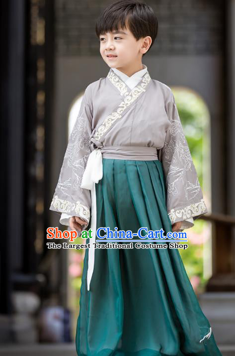 Chinese Traditional Han Dynasty Swordsman Costume Ancient Scholar Hanfu Clothing for Kids