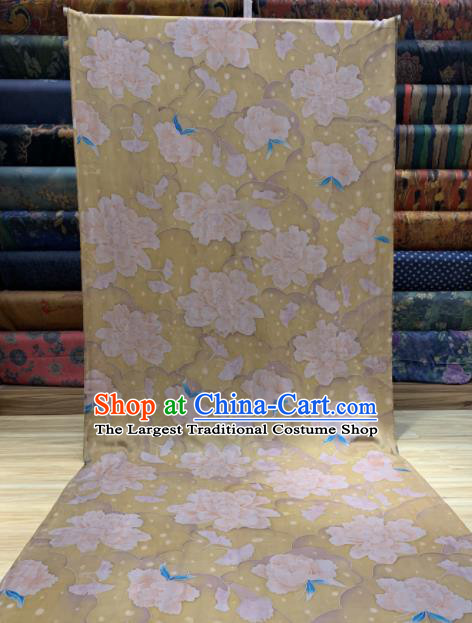 Asian Chinese Traditional Peony Pattern Design Yellow Gambiered Guangdong Gauze Fabric Silk Material