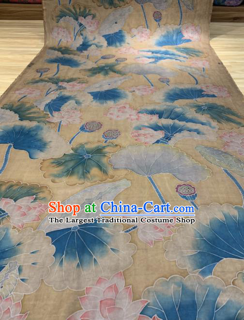 Asian Chinese Traditional Lotus Pattern Design Yellow Gambiered Guangdong Gauze Fabric Silk Material