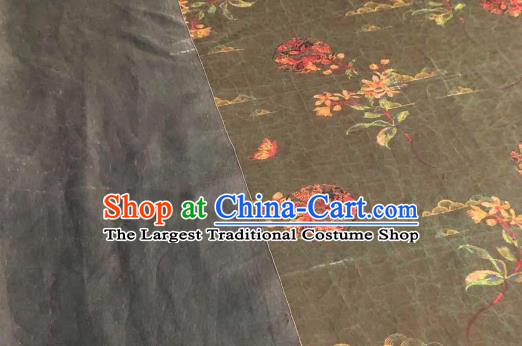 Asian Chinese Traditional Flowers Pattern Design Olive Green Gambiered Guangdong Gauze Fabric Silk Material