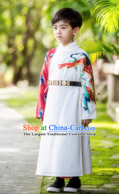 Chinese Traditional Tang Dynasty Swordsman Costume Ancient Scholar Hanfu Clothing for Kids