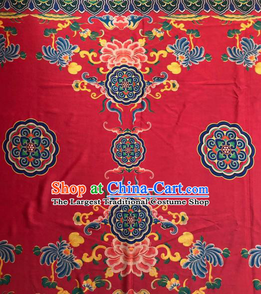 Asian Chinese Traditional Peony Chrysanthemum Pattern Design Red Gambiered Guangdong Gauze Fabric Silk Material
