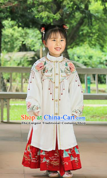Chinese Traditional Girls Embroidered White Cape and Skirt Ancient Ming Dynasty Princess Costume for Kids