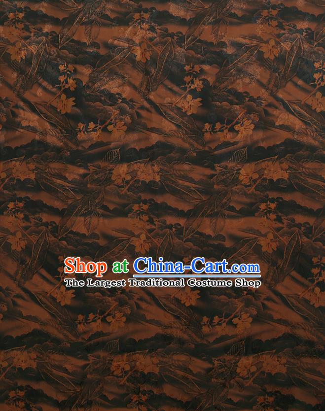 Chinese Classical Printing Pattern Design Deep Brown Gambiered Guangdong Gauze Fabric Asian Traditional Cheongsam Silk Material