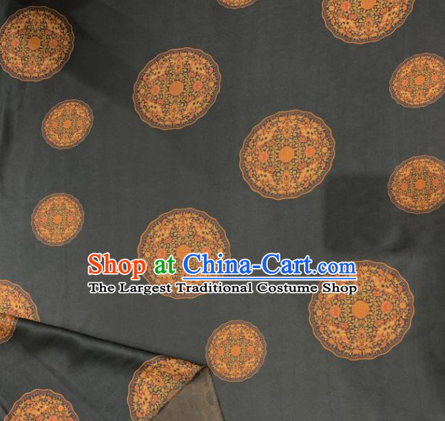 Asian Chinese Traditional Round Pattern Design Black Gambiered Guangdong Gauze Fabric Silk Material