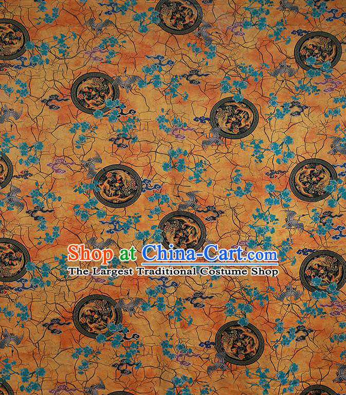 Chinese Classical Printing Crane Plum Pattern Design Yellow Gambiered Guangdong Gauze Fabric Asian Traditional Cheongsam Silk Material