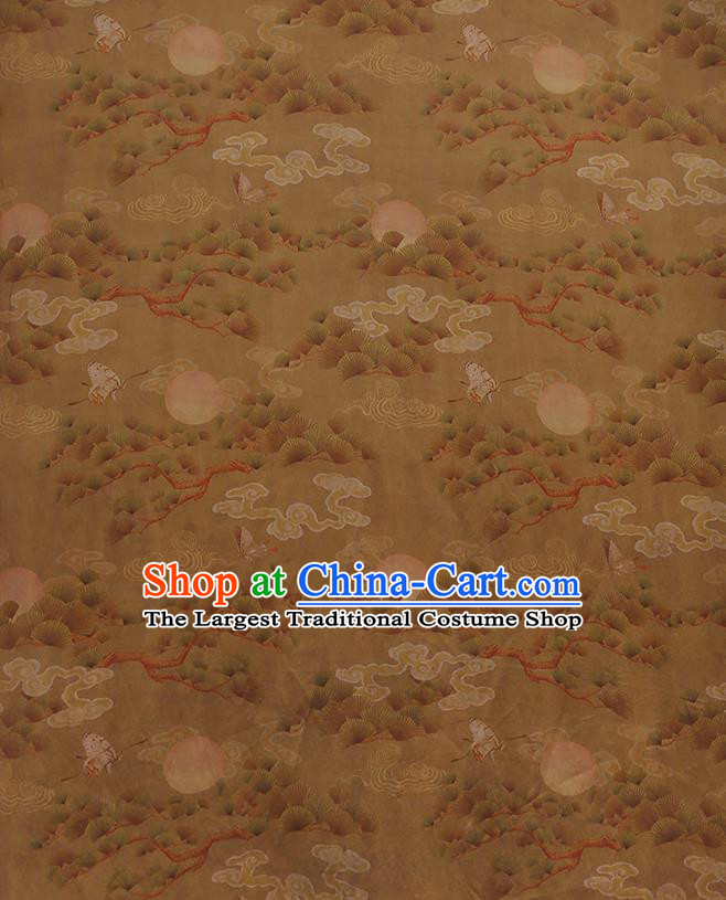 Chinese Classical Printing Cloud Pine Pattern Design Khaki Gambiered Guangdong Gauze Fabric Asian Traditional Cheongsam Silk Material
