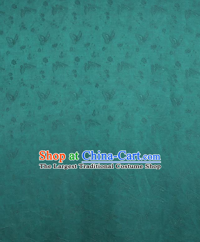 Chinese Classical Butterfly Pattern Design Green Gambiered Guangdong Gauze Fabric Asian Traditional Cheongsam Silk Material