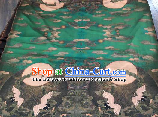 Asian Chinese Traditional Crane Pattern Design Green Gambiered Guangdong Gauze Fabric Silk Material