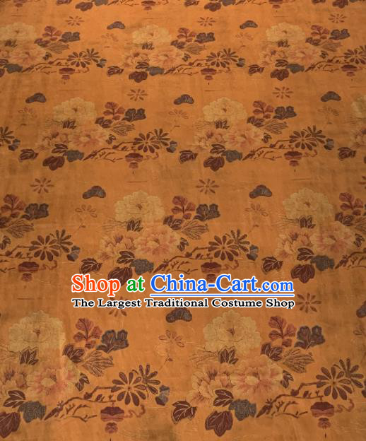 Asian Chinese Traditional Camellia Pattern Design Ginger Gambiered Guangdong Gauze Fabric Silk Material