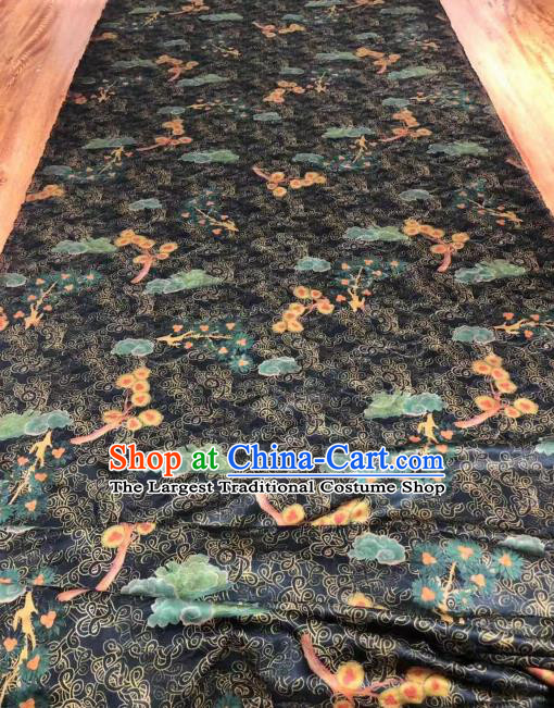 Asian Chinese Traditional Cloud Plum Pattern Design Black Gambiered Guangdong Gauze Fabric Silk Material