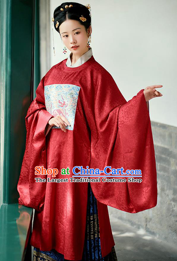 Chinese Ancient Imperial Empress Red Hanfu Dress Traditional Ming Dynasty Queen Embroidered Costumes for Women