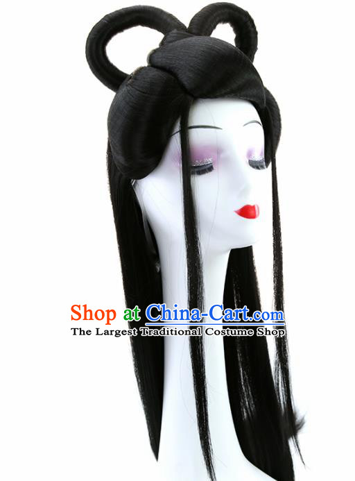 Chinese Classical Flying Dance Goddess Wigs Hair Accessories Ancient Royal Princess Chignon for Women