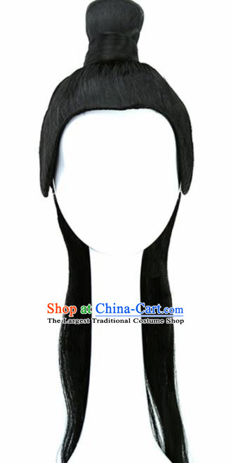 Chinese Ancient Swordsman Wigs Hair Accessories Drama Young Knight Chignon for Men