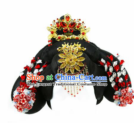Chinese Ancient Princess Golden Hair Comb and Wigs Hair Accessories Drama Imperial Concubine Chignon for Women