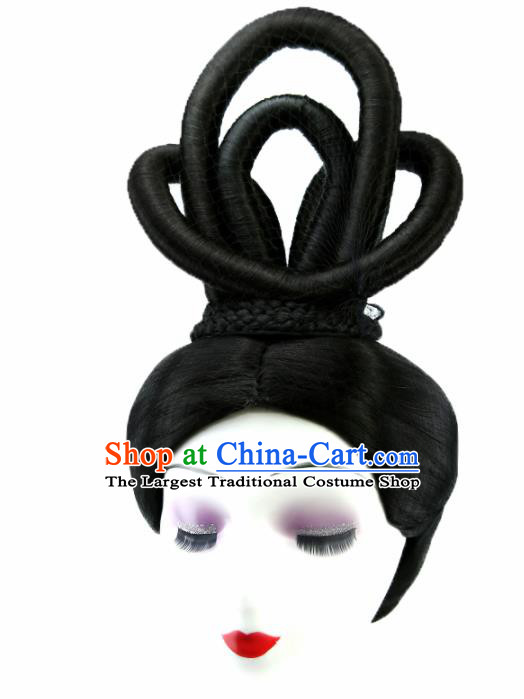 Chinese Ancient Goddess Wigs Hair Accessories Drama Palace Princess Chignon for Women