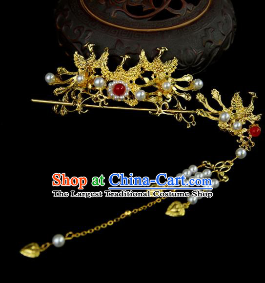 Chinese Ancient Princess Golden Phoenix Hair Crown and Hairpins Traditional Classical Dance Hair Accessories for Women