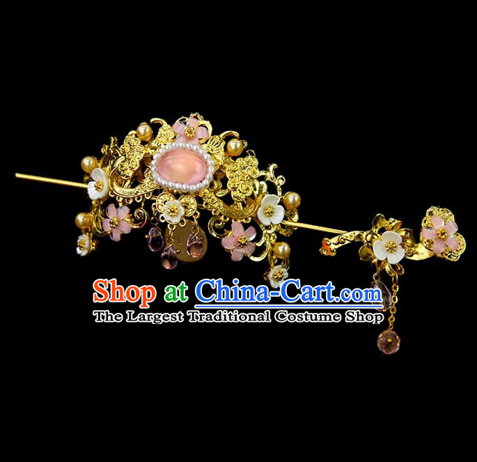 Chinese Ancient Princess Pink Glass Hair Crown and Hairpins Traditional Classical Dance Hair Accessories for Women