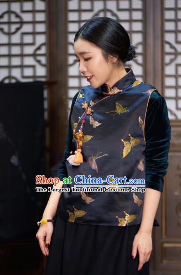 Top Grade Traditional Chinese Embroidered Black Brocade Vest Tang Suit Silk Upper Outer Garment for Women
