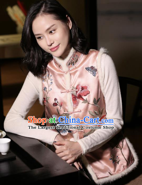 Top Grade Traditional Chinese Embroidered Pink Silk Vest Tang Suit Upper Outer Garment for Women