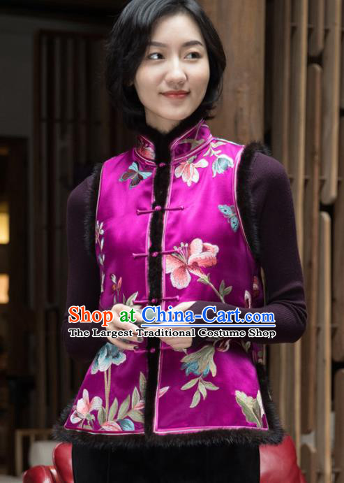 Top Grade Traditional Chinese Embroidered Purple Silk Vest Tang Suit Upper Outer Garment for Women
