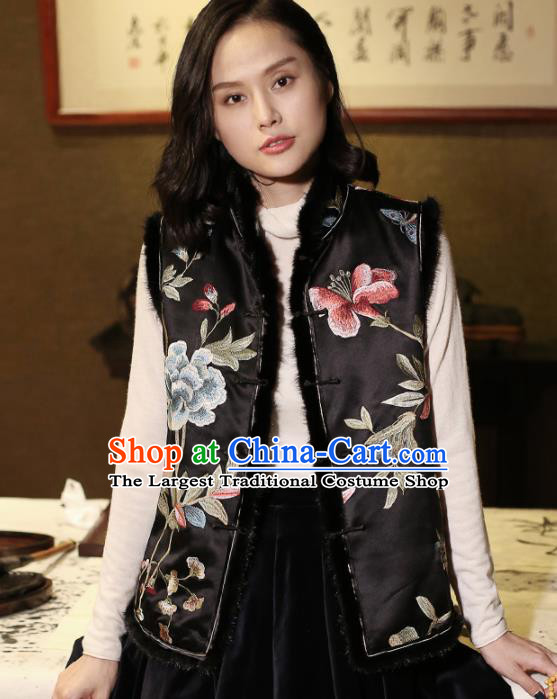 Top Grade Traditional Chinese Embroidered Black Silk Vest Tang Suit Upper Outer Garment for Women