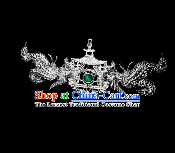 Chinese Ancient Princess Green Glass Hair Clip Phoenix Hairpins Traditional Classical Dance Hair Accessories for Women