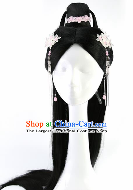 Chinese Ancient Goddess Wigs and Hairpins Hair Accessories Drama Palace Princess Chignon for Women