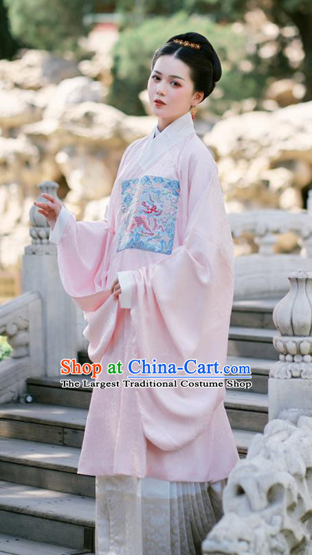 Chinese Ancient Royal Countess  Embroidered Pink Gown and Skirt Traditional Ming Dynasty Imperial Concubine Costumes for Women