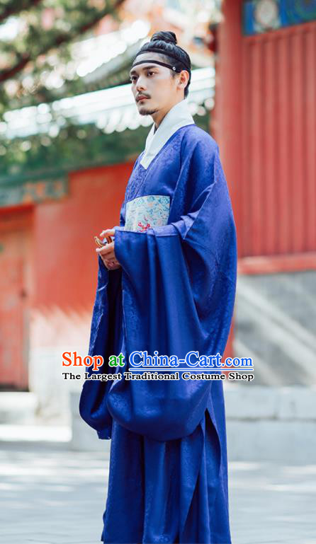 Chinese Ancient Official Blue Gown Traditional Ming Dynasty Minister Costumes for Men