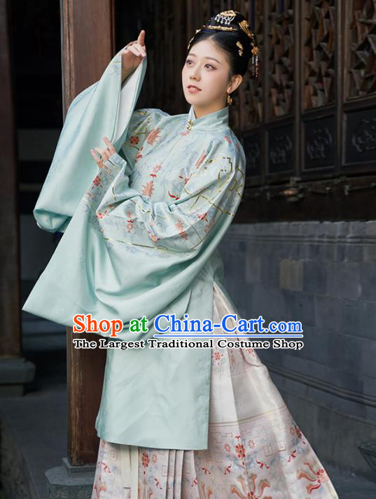 Chinese Ancient Imperial Concubine Long Blouse and Skirt Traditional Ming Dynasty Court Countess Costumes for Women