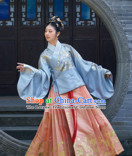Chinese Ancient Royal Young Mistress Blouse and Skirt Traditional Ming Dynasty Countess Costumes for Women